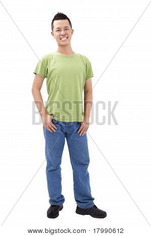 Portrait of young man stand and isolated on white background