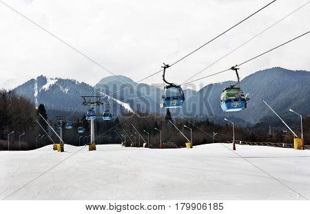 Bansko, Bulgaria -March 24 2017: Cable car lift at alpine ski resort Bansko, Bulgaria