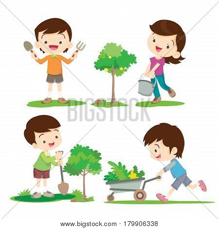 Children Boy and Girl involved in gardening