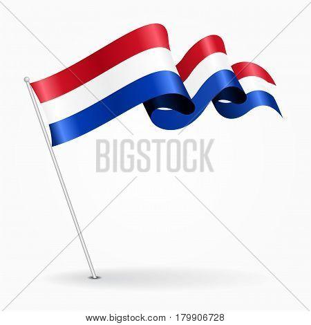 Dutch pin icon wavy flag. Vector illustration.