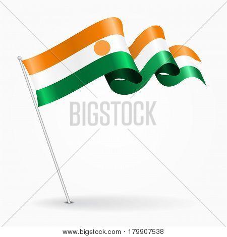 Niger pin icon wavy flag. Vector illustration.