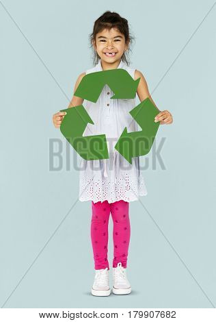 Ecology little girl holding recycle symbol
