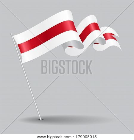 Belorussian pin icon wavy flag. Vector illustration.