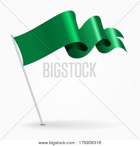 Libyan pin icon wavy flag. Vector illustration.