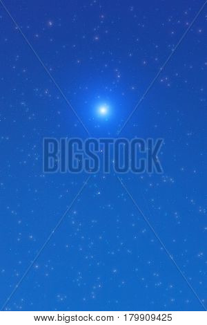 Milky way stars photographed with wide lens. 2D render / illustration.