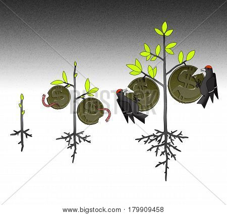 Growth of income taxes and inflation in the form of a money tree with coins eaten by worms and birds on the branches. On a stylized graphical background