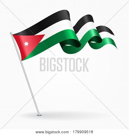 Jordanian pin icon wavy flag. Vector illustration.