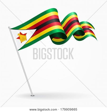 Zimbabwe pin icon wavy flag. Vector illustration.