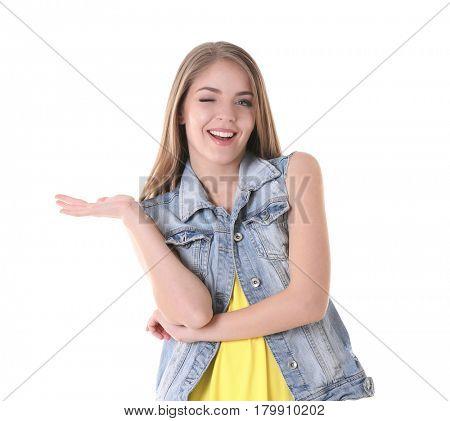 Beautiful stylish woman on white background