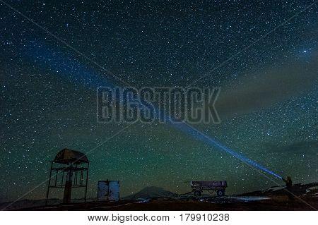 Stat on the Mount Elbrus at night, Caucasus, Russia.