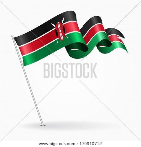 Kenyan pin icon wavy flag. Vector illustration.