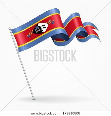 Swaziland pin icon wavy flag. Vector illustration.