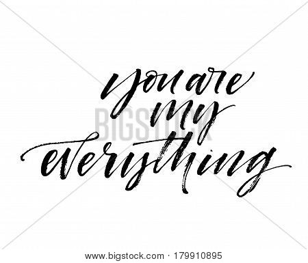 You are everything card. Phrase for Valentine's day. Ink illustration. Modern brush calligraphy. Isolated on white background.