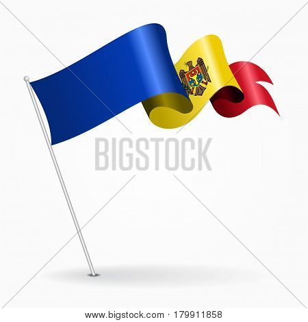 Moldovan pin icon wavy flag. Vector illustration.