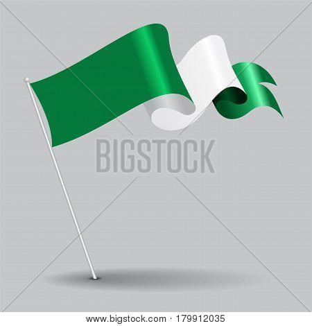 Nigerian pin icon wavy flag. Vector illustration.