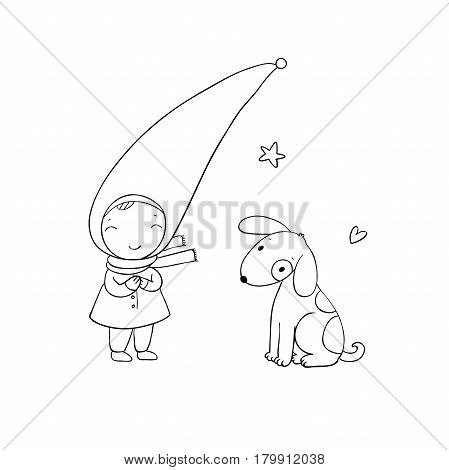 Cute little gnome and the dog. Vector illustration for children design. isolated objects on white background.