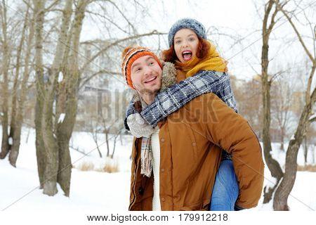 Lovely couple in winter park