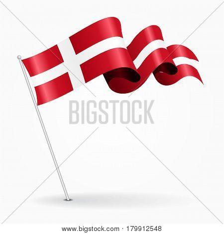 Danish pin icon wavy flag. Vector illustration.