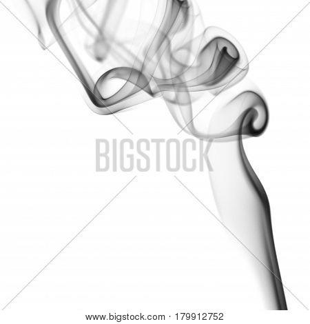 Black cloud of smoke on white background