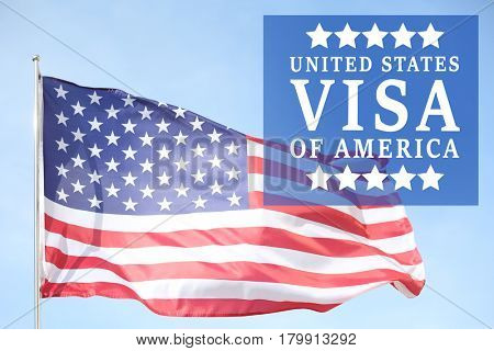 Text VISA UNITED STATES OF AMERICA and USA flag on sky background