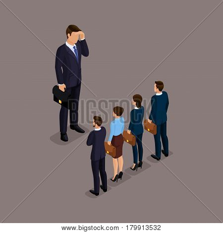 Business people isometric set of men and women the selection of candidates for the head set of little people isolated on a dark background.