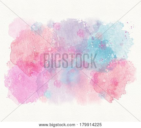 abstract blue pink watercolor background, divorce, spot and spray