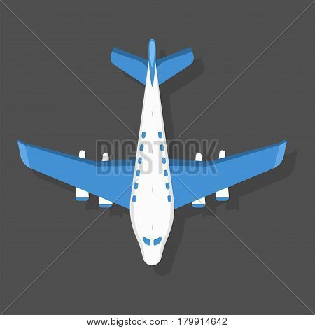 Vector blue airplane illustration plane top view passenger trip and aircraft transportation travel way to vacation sky design journey international object. Commercial tour speed aviation.
