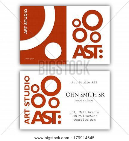 Abstract business card template. Art Studio theme. Standard size throughout UK and Europe. Vector illustration.