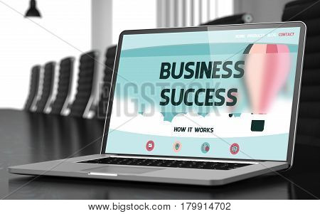 Business Success Concept. Closeup of Landing Page on Mobile Computer Display in Modern Meeting Room. Toned. Blurred Image. 3D Rendering.