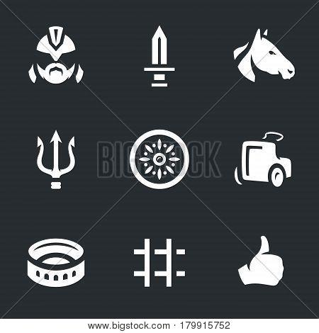 Gladiator, sword, horse, trident, shield, chariot, colosseum, prison, gesture.