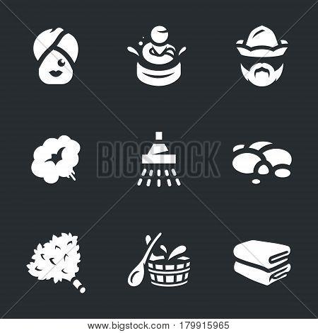 Woman, tub, bath attendant, steam, shower, stones, broom, basin, towels.