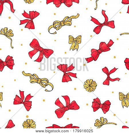 Seamless red and golden bows pattern. Vector celebration background for birthday Christmas New Year design.