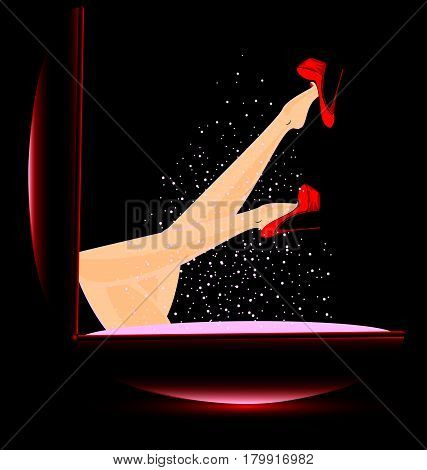 abstract box of powder and female feet with red shoes