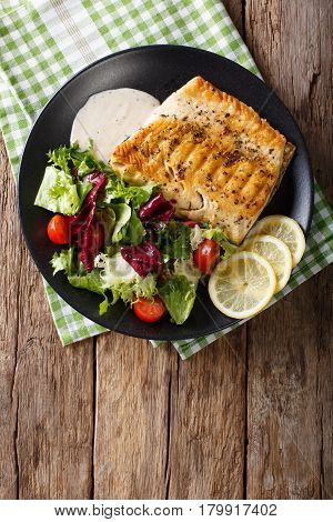 Tasty Roasted Fish Fillet Arctic Char And Fresh Vegetables Close-up. Vertical Top View