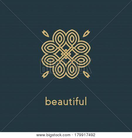 Luxury vector logo. Linear emblem. Flourishes calligraphic monogram emblem template. Luxury elegant frame ornament line logo design vector illustration. Example designs for Cafe, Hotel, Heraldic, Restaurant, Boutique