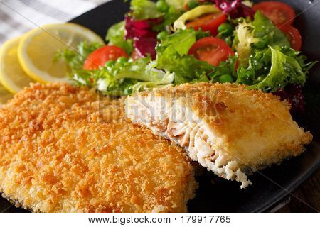 Fish Fillet Of Arctic Char In Breadcrumbs And Fresh Salad Macro. Horizontal