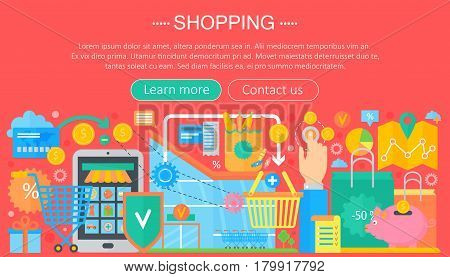 Shopping Online and E-Commerce Shopping concept. Online e commerce infographics template design, web header shopping icons elements. Vector illustration