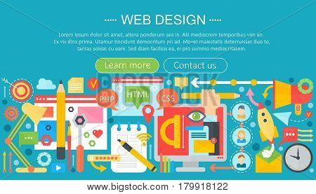 Web design flat concept. Programming apps infographics template header design. Vector illustration