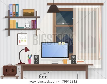 Male teenager room with workplace. Modern man style room interior design with furniture