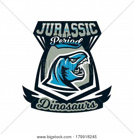 Logo, emblem of dinosaur, Jurassic period. Vector illustration, printing on T-shirts