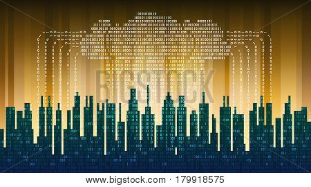 Binary rain in digital abstract city, the flow of data with the cloud, high-tech background. The concept of global networking technologies