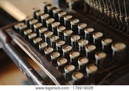 Old typewriter closeup of keys