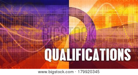 Qualifications Focus Concept on a Futuristic Abstract Background 3D Illustration Render