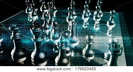 Strategic Management and Business War Chess Concept 3D Illustration Render