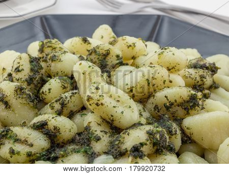 Potato gnocchi pasta close up with herbs and olive oil