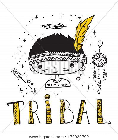 Vector illustration with cute doodle tribal boy and other tribal things for kid's interiors, card or poster.