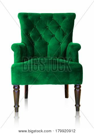 Old styled of green vintage armchair isolated on white background clipping path.