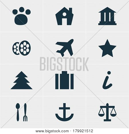 Vector Illustration Of 12 Map Icons. Editable Pack Of Bookmark, Aircraft, Pet Shop And Other Elements.