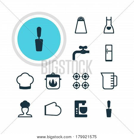 Vector Illustration Of 12 Restaurant Icons. Editable Pack Of Smock, Carafe, Oven Mitts And Other Elements.
