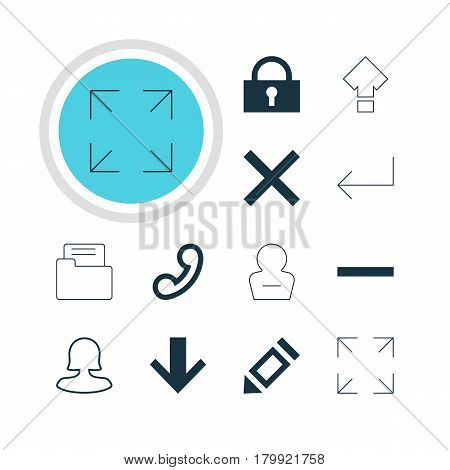 Vector Illustration Of 12 User Icons. Editable Pack Of Accsess, Wide Monitor, Padlock And Other Elements.